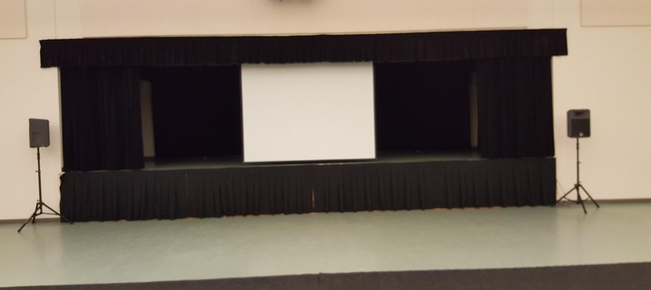 Stage area 32' wide X 18' deep (512 sq. ft.)